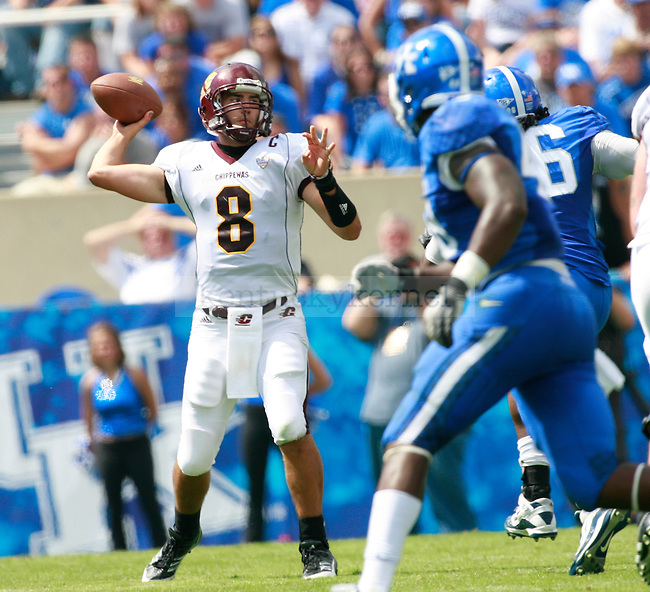 Central Michigan quarterback Ryan Radcliff throws a pass during the second half of UK's first home game against Central Michigan, Saturday, Sept. 10, 2011 in Lexington, Ky.  Photo by Brandon Goodwin | Staff