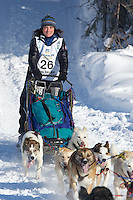 Michelle Phillips on Long Lake at the Re-Start of the 2012 Iditarod Sled Dog Race