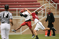 21 April 2007: Troy Walters catches the winning pass while defended by Coleman Hutzler during the Alumni's 38-33 victory over the coaching staff during a flag football exhibition at Stanford Stadium in Stanford, CA.