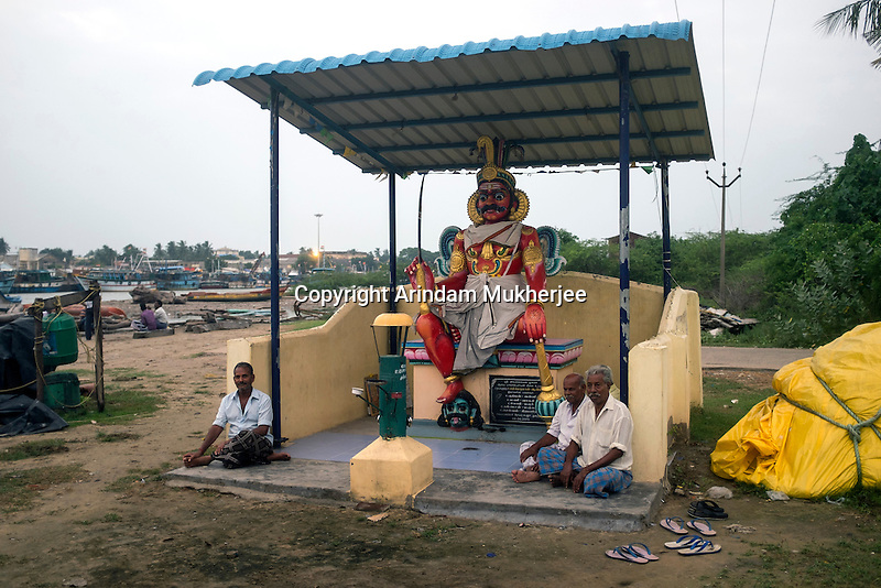 A newly build Temple in Cuddalore. The older one got washed away in 2004 Tsunami. Tamil Nadu, India.