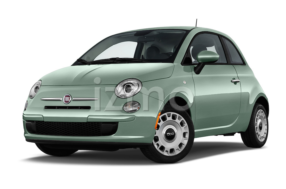 Stock pictures of low aggressive front three quarter view of 2016 Fiat 500 Pop 3 Door Hatchback Low Aggressive