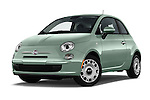 Stock pictures of low aggressive front three quarter view of 2017 Fiat 500 Pop 3 Door Hatchback Low Aggressive