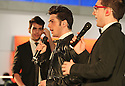 Gianluca Ginoble left, Ignazio Boschetto center, and Piero Barone right, of the group II Volo performs at the Live at T5 at JetBlue terminal 5 at JFK airport on Tuesday, Dec. 4, 2012 in New York. (Donald Traill/Invision/AP)