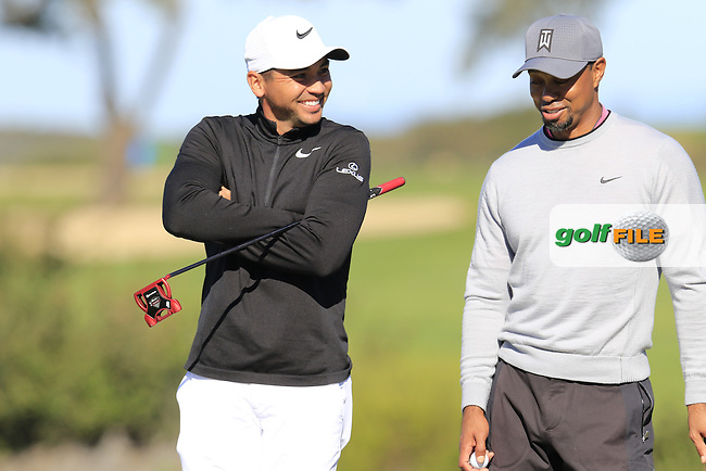 Jason Day (AUS) and Tiger Woods (USA) on the 12th green during Friday's Round 2 of the 2017 Farmers Insurance Open held at Torrey Pines Golf Course, La Jolla, San Diego, California, USA.<br /> 27th January 2017.<br /> Picture: Eoin Clarke | Golffile<br /> <br /> <br /> All photos usage must carry mandatory copyright credit (&copy; Golffile | Eoin Clarke)