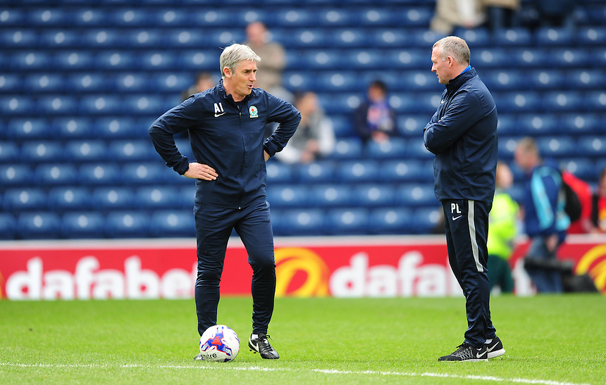 Blackburn Rovers&rsquo; assistant manager Alan Irvine, left, and Blackburn Rovers manager Paul Lambert during the pre-match warm-up <br /> <br /> Photographer Chris Vaughan/CameraSport<br /> <br /> Football - The Football League Sky Bet Championship - Blackburn Rovers v Bristol City - Saturday 23rd April 2016 - Ewood Park - Blackburn <br /> <br /> &copy; CameraSport - 43 Linden Ave. Countesthorpe. Leicester. England. LE8 5PG - Tel: +44 (0) 116 277 4147 - admin@camerasport.com - www.camerasport.com