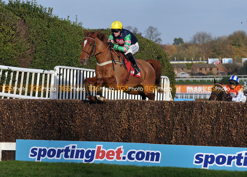 Lidar ridden by Charlie Huxley takes an open ditch in the Markel Insurance Henry VIII Novices´ Chase  at Sandown Park Racecourse, Esher, Surrey - 03/12/2011 - MANDATORY CREDIT: Martin Dalton/TGSPHOTO - Self billing applies where appropriate - 0845 094 6026 - contact@tgsphoto.co.uk - NO UNPAID USE.