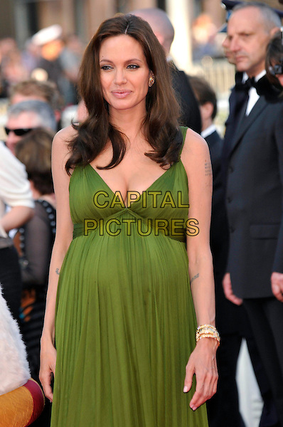 "ANGELINA JOLIE.""Kung Fu Panda"" Gala Premiere at the 61st Annual International Cannes Film Festival, Cannes, France, 15 May 2008..half length green dress pregnant cleavage.CAP/PL.© Phil Loftus/Capital Pictures"