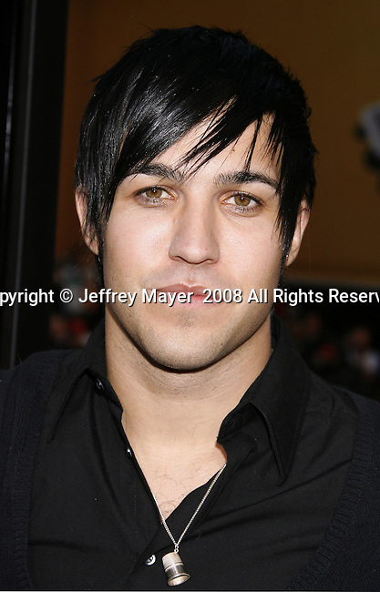 "Musician Pete Wentz arrives to the ""Iron Man"" premiere at Grauman's Chinese Theatre on April 30, 2008 in Hollywood, California."