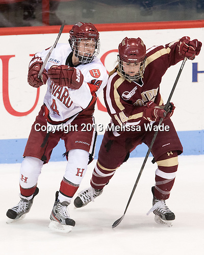 Jillian Dempsey (Harvard - 14), Emily Pfalzer (BC - 14) - The Boston College Eagles defeated the Harvard University Crimson 2-1 in the opening game of the 2013 Beanpot on Tuesday, February 5, 2013, at Matthews Arena in Boston, Massachusetts.