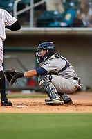Pensacola Blue Wahoos catcher Chadwick Tromp (13) waits to receive a pitch during a game against the Birmingham Barons on May 8, 2018 at Regions Field in Birmingham, Alabama.  Birmingham defeated Pensacola 5-2.  (Mike Janes/Four Seam Images)