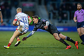 3rd February 2019, AJ Bell Stadium, Salford, England; Premiership Rugby Cup, Sale Sharks versus Newcastle Falcons; Toby Flood of Newcastle Falcons dives and tackles Arron Reed of Sale Sharks