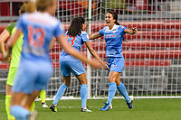 Bridgeview, IL - Wednesday August 16, 2017: Christen Press, Jennifer Hoy during a regular season National Women's Soccer League (NWSL) match between the Chicago Red Stars and the Seattle Reign FC at Toyota Park.