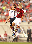 26 May 2006: Ben Olsen (USA) (14) and Jesus Gomez (VEN) (10) challenge for a header. The United States Men's National Team defeated their counterparts from Venezuela 2-0 at Cleveland Browns Stadium in Cleveland, Ohio in a men's international friendly soccer game.