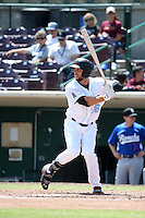 Forrestt Allday (36) of the Inland Empire 66ers bats against the Rancho Cucamonga Quakes at San Manuel Stadium on April 27, 2016 in San Bernardino, California. Rancho Cucamonga defeated Inland Empire, 2-1. (Larry Goren/Four Seam Images)