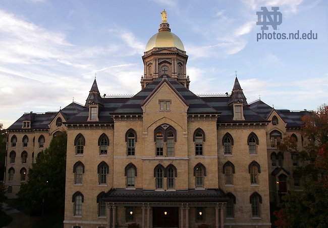 The Main Building of the University of Notre Dame, with the signature Golden Dome.<br /> <br /> Photo by Matt Cashore/University of Notre Dame