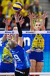 11.05.2019, Scharrena, Stuttgart<br />Volleyball, Bundesliga Frauen, Play-offs Finale, 5. Spiel, Allianz MTV Stuttgart vs. SSC Palmberg Schwerin<br /><br />Angriff Jana Franziska Poll (#9 Stuttgart) - Block / Doppelblock Denise Hanke (#10 Schwerin), Beta Dumancic (#11 Schwerin)<br /><br />  Foto © nordphoto / Kurth