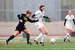 Palos Verdes, CA 01/26/10 - Chelsea Strange (MC#2) and Carly Brahim (28) in action during the Mira Costa vs Palos Verdes Girls Varsity soccer game at Palos Verdes High School.