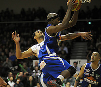 Saints import Kareem Johnson beats Mika Vukona to a defensive rebound. NBL Semifinal - Wellington Saints v Nelson Giants at TSB Bank Arena, Wellington, New Zealand on Friday, 15 July 2011. Photo: Dave Lintott / lintottphoto.co.nz