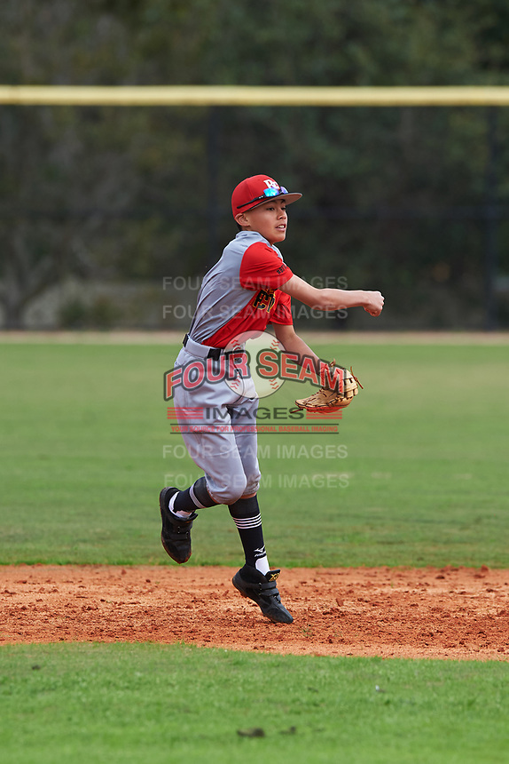 Wehiwa Aloy (4) of Wailuku, Hawaii during the Baseball Factory All-America Pre-Season Rookie Tournament, powered by Under Armour, on January 13, 2018 at Lake Myrtle Sports Complex in Auburndale, Florida.  (Michael Johnson/Four Seam Images)