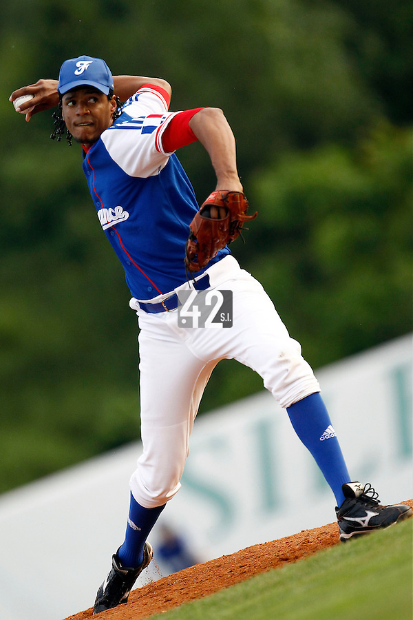 21 June 2011: Harold Castillo of Team France pitches against Czech Republic during Czech Republic 3-1 win over France, at the 2011 Prague Baseball Week, in Prague, Czech Republic.