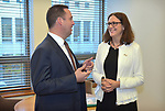 Cecilia Malmstrom, Trade Commissioner of the European Union (R), speaks with Steven Ciobo, Australian Minister of Trade (L), at Parliament House, Canberra, Monday, June 18, 2018.