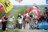 Sep Vanmarcke (BEL/Belkin) makes a move up the final ascent of the Paterberg with Fabian Cancellara (CHE/TrekFactoryRacing) giving it all he's got just to stay on his wheel<br /> <br /> Ronde van Vlaanderen 2014