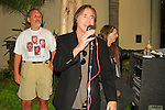 "CHRIS CARTER. The disc jockey speaks at the George Harrison Public Birthday Celebration by the Alliance for Survival, hosted by Jerry Rubin and ""Breakfast with the Beatles"" radio host Chris Carter at George Harrison's star on the Walk of Fame Star. Hollywood, CA, USA. February 25, 2010."