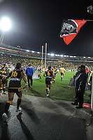 The Warriors run out during the NRL match between the NZ Warriors and Canterbury Bulldogs at Westpac Stadium, Wellington, New Zealand on Saturday, 11 May 2013. Photo: Dave Lintott / lintottphoto.co.nz