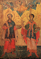 Icon of Saints Cosmas and Damian, attributed to Onufri, 16th centry, from the Church of St John the Theologian, now housed in the National Onufri Museum in the Cathedral of the Virgin Mary inside Berat Castle or Kalaja e Beratit, in Berat, South-Central Albania, capital of the District of Berat and the County of Berat. The cathedral was built in 1797 on the foundations of an older church and its museum is named after Onufri or Onouphrios of Neokastro, Albania's famous 16th century icon painter. The museum comprises the main nave, the altar area, and several rooms in the North and West of the church. Picture by Manuel Cohen