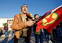 Pictured: A Kurdish protester at Syntagma Square in Athens Greece. <br /> Re: Kurdish people with protest against the Turkey president  Recep Tayyip Erdogan's visit to Greece. Thursday 07 December 2017