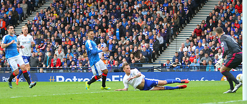 10.04.2016. Hampden Park, Glasgow, Scotland. Petrofac Training Cup Final. Rangers versus Peterhead. Ally Gilchrist puts the ball into his own net to make it 1-0 to Rangers