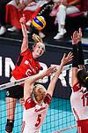 16.08.2019, …VB Arena, Bremen<br />Volleyball, LŠnderspiel / Laenderspiel, Deutschland vs. Polen<br /><br />Angriff Jennifer Geerties (#6 GER) - Block / Doppelblock Agnieszka Kakolewska (#5 POL), Malwina Smarzek (#17 POL)<br /><br />  Foto © nordphoto / Kurth