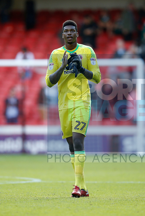 Jamal Blackman of Sheffield Utd applauds the fans during the English Championship League match at Bramall Lane Stadium, Sheffield. Picture date: August 5th 2017. Pic credit should read: Simon Bellis/Sportimage