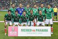 Bridgeview, IL, USA - Tuesday, October 11, 2016: Mexico starting XI before an international friendly soccer match between Mexico and Panama at Toyota Park. Mexico won 1-0.