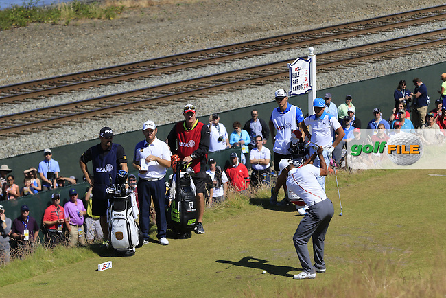 Tiger WOODS (USA) tees off the 17th tee during Friday's Round 2 of the 2015 U.S. Open 115th National Championship held at Chambers Bay, Seattle, Washington, USA. 6/19/2015.<br /> Picture: Golffile | Eoin Clarke<br /> <br /> <br /> <br /> <br /> All photo usage must carry mandatory copyright credit (&copy; Golffile | Eoin Clarke)