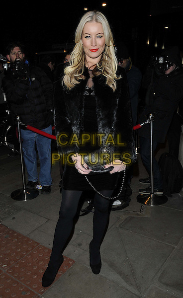 "Denise Van Outen.The ""Burn The Floor"" press night, Shaftesbury Theatre,  London, England..March 11th, 2013.full length black fur jacket coat dress tights  clutch bag    .CAP/CAN.©Can Nguyen/Capital Pictures."
