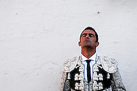 A Spanish bullfighter during the deep concentration before Corida de Toros in Fuengirola, Spain, 28 April 2007.