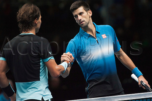 21.11.2015. The O2, London, England. ATP Tennis Tour Finals. Day 7. Rafael Nadal (ESP) [5] congratulates Novak Djokovic (SRB) [1] after their semi final match. Djokovic won the match 6-3, 6-3.