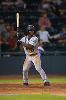 Josh Stowers (21) of the Charleston RiverDogs at bat against the Hickory Crawdads at L.P. Frans Stadium on August 10, 2019 in Hickory, North Carolina. The RiverDogs defeated the Crawdads 10-9. (Brian Westerholt/Four Seam Images)