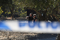 Pictured: Special forensics police officers search a field in Kos, Greece. Thursday 29 September 2016<br /> Re: Police teams searching for missing toddler Ben Needham on the Greek island of Kos have said they are &quot;optimistic&quot; about new excavation work.<br /> Ben, from Sheffield, was 21 months old when he disappeared on 24 July 1991 during a family holiday.<br /> Digging has begun at a new site after a fresh line of inquiry suggested he could have been crushed by a digger.<br /> South Yorkshire Police (SYP) said it continued to keep an &quot;open mind&quot; about what happened to Ben.