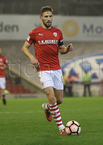 17th January 2017, Oakwell, Barnsley, South Yorkshire, England; FA Cup 3rd round replay, Barnsley versus Blackpool; Barnsley's Conor Hourihane on the ball