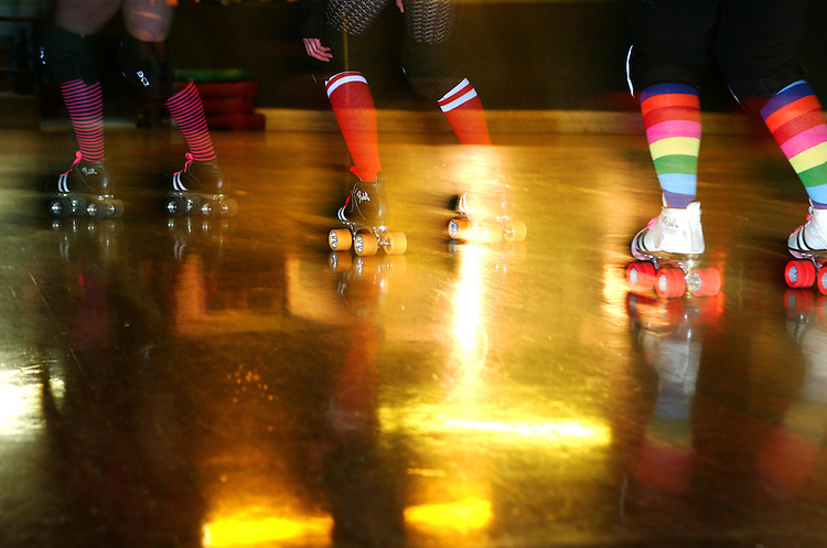 February 19, 2008; Santa Cruz, CA, USA; Detailed view of roller skates as female athletes skate during Santa Cruz Rollergirls practice in Santa Cruz, CA. Photo by: Phillip Carter