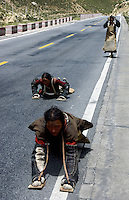 Prostration in Tibet&nbsp;is an important expression of devotion to Tibetan Buddhism. Prostrating is practicing one of Buddhism's three Jewels for Tibetan Buddhists. Tibetan pilgrims prostrate themselves by lying face-down on the ground and stretching out their arms and legs so as to earn merit.<br />