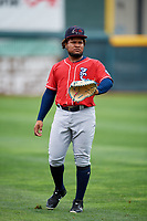 New Hampshire Fisher Cats Juan Kelly (25) warms up before a game against the Erie SeaWolves on June 20, 2018 at UPMC Park in Erie, Pennsylvania.  New Hampshire defeated Erie 10-9.  (Mike Janes/Four Seam Images)