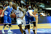 GRONINGEN - Basketbal, Donar - Landstede Zwolle, Martiniplaza, Dutch Basketbal league, seizoen 2018-2019, 02-02-2019, Donar speler LaRon Dendy met Landstede speler Kevin Bleeker