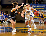 BROOKINGS, SD - NOVEMBER 21: South Dakota State Jackrabbits guard Rylie Cascio Jensen #2 drives against Montana State Bobcats guard Darian White #2 during their game Thursday night at Frost Arena in Brookings, SD. (Photo by Dave Eggen/Inertia