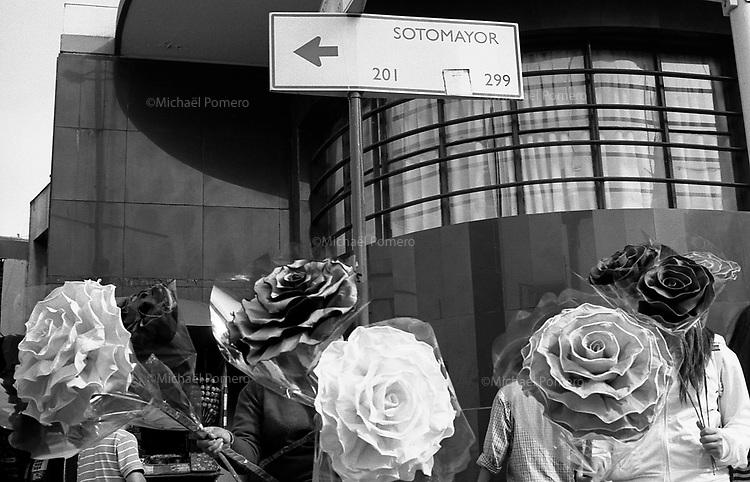 01.2010 Santiago de chile (Chile)<br /> <br /> Femmes tenant de grandes fleurs décoratives.<br /> <br /> Women holding large decorative flowers.