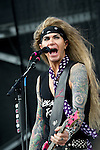 Travis Haley of Steel Panther performs during the 2013 Rock On The Range festival at Columbus Crew Stadium in Columbus, Ohio.