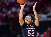 College Park, MD - NOV 13, 2017: South Carolina Gamecocks guard Tyasha Harris (52) hits on an open jump shot during game between No. 4 ranked South Carolina and the No. 15 Maryland Terrapins at the XFINITY Center in College Park, MD. The Gamecocks defeated Maryland 94-86.  (Photo by Phil Peters/Media Images International)