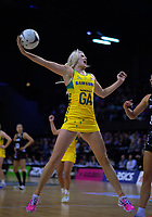 Gretel Tippett takes a pass during the Constellation Cup Series international netball match between the New Zealand Silver Ferns and Samsung Australian Diamonds at TSB Bank Arena in Wellington, New Zealand on Thursday, 18 October 2018. Photo: Dave Lintott / lintottphoto.co.nz